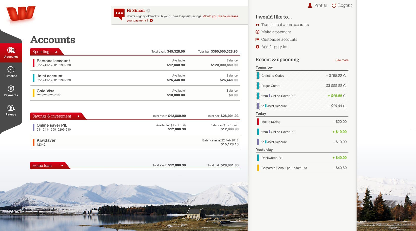 Project showcase image for Westpac Online Banking.