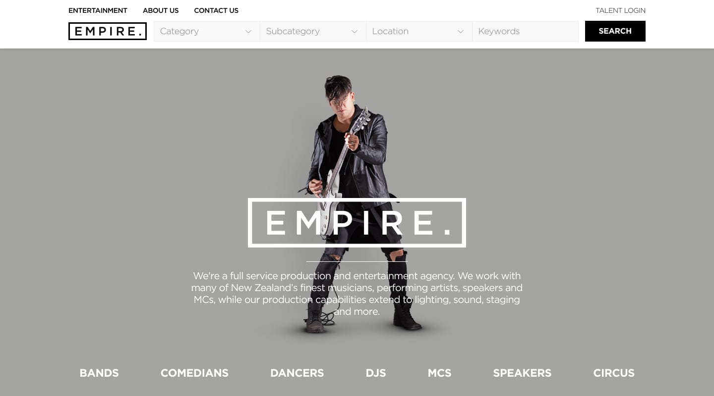 Project showcase image for Empire Agency.
